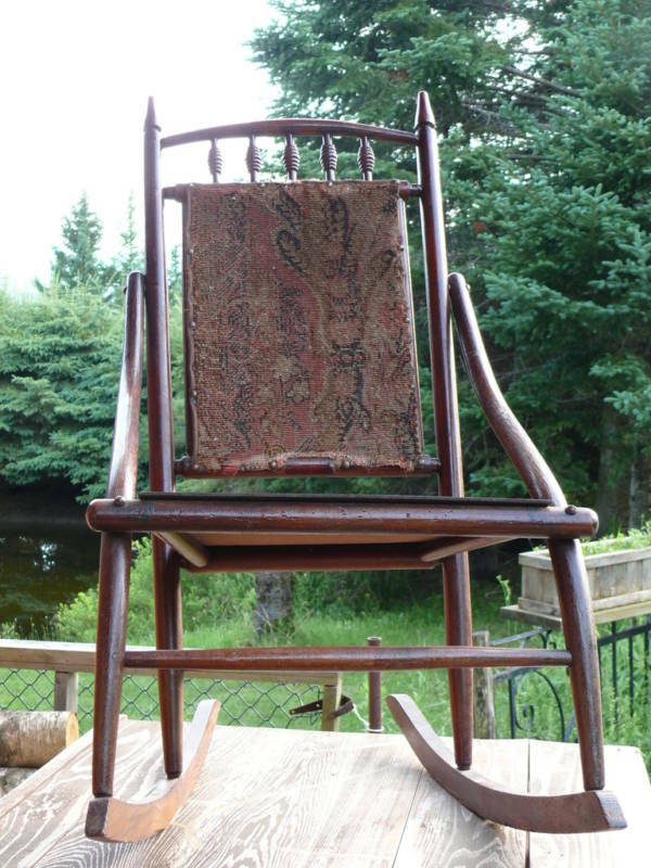 Antique Victorian Carpet Backed Rocking Chair Med Sized Ebay