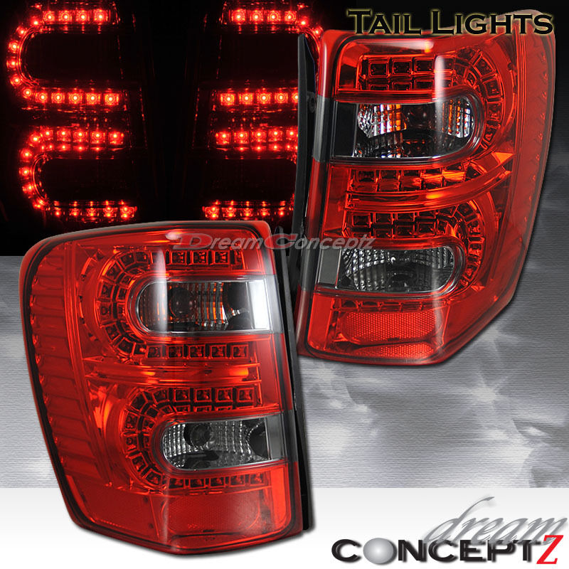 1999 2004 jeep grand cherokee led tail lights l e d red smoked lens. Black Bedroom Furniture Sets. Home Design Ideas