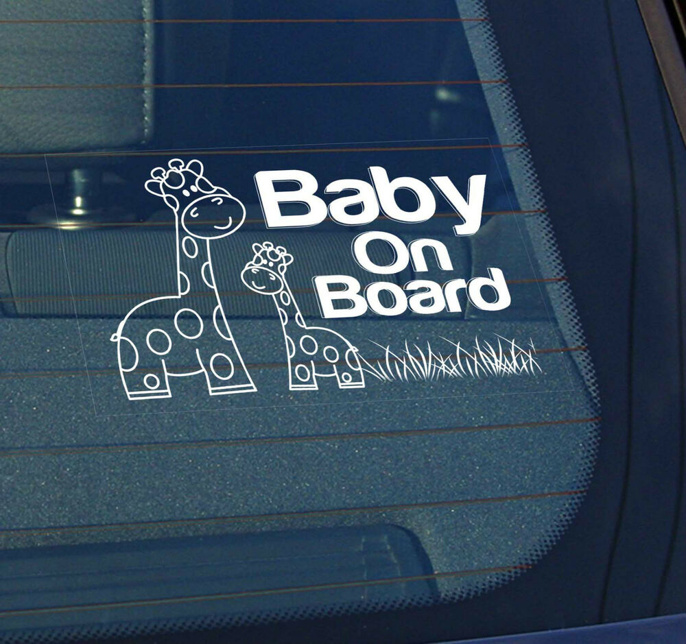Static Cling Window Car Sign Decal Giraffes Baby On Board