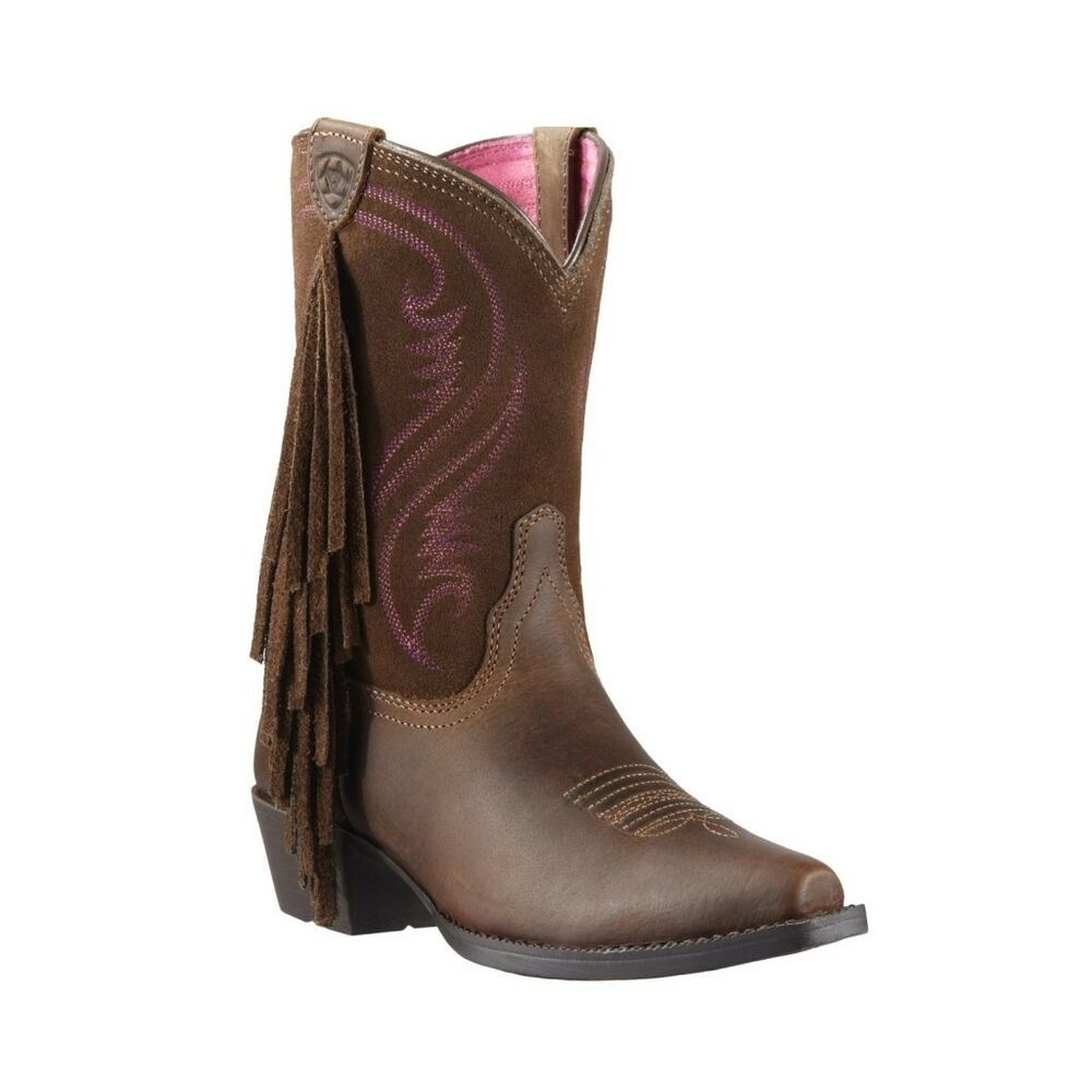 ariat 174 children s fancy fringe brown and pink