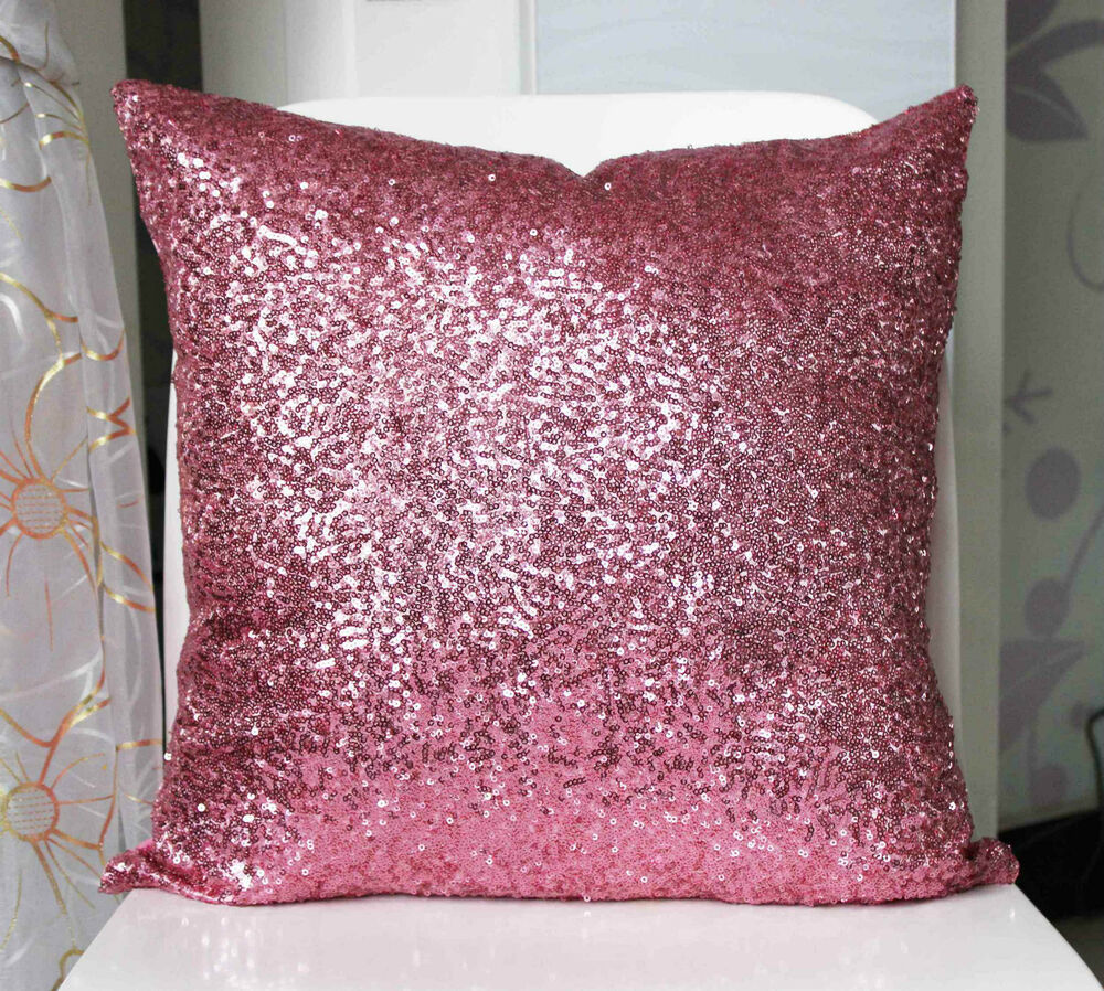 Small Throw Pillow Cases : Super Shine Small Sequins PILLOW CASES CUSHION COVERS pink 40 cm eBay