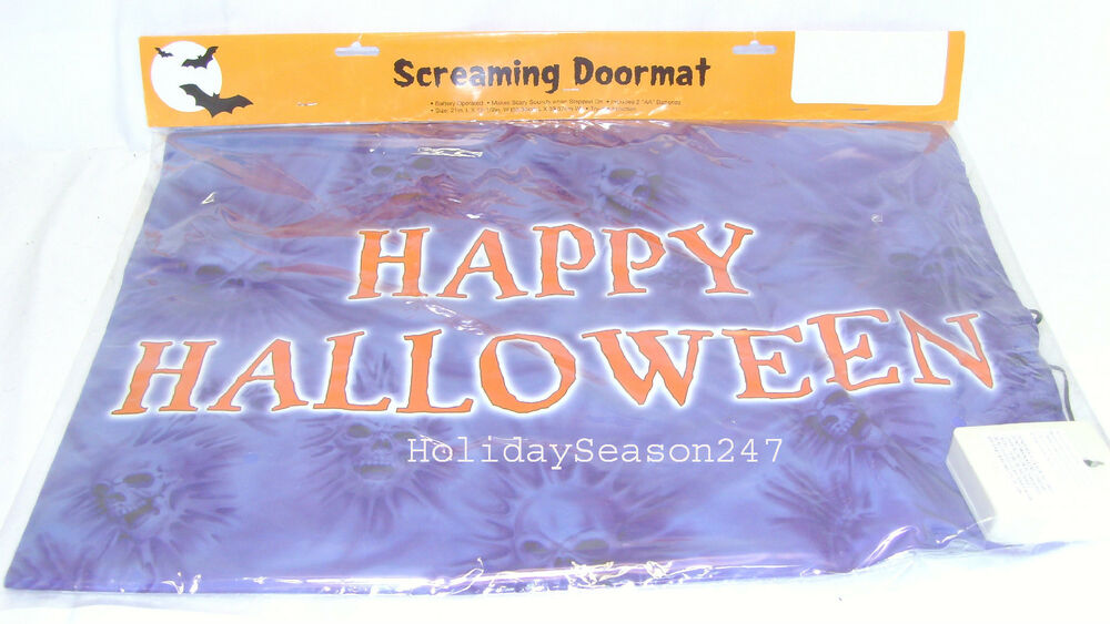 Happy Halloween Spooky Screaming Doormat Prop Makes Scary  ~ 010317_Halloween Doormat With Sound