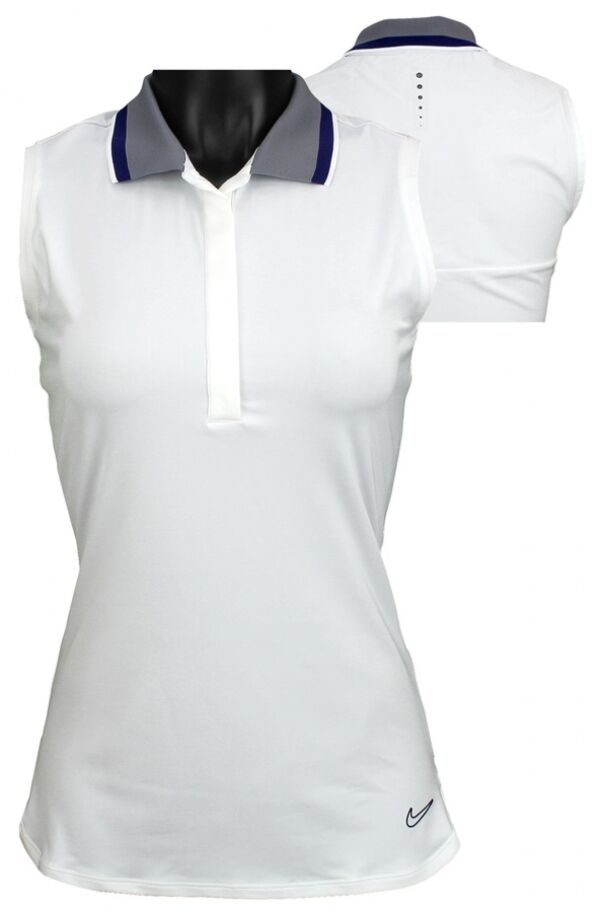 Nike golf sleeveless sportie womens polo shirt dri fit dry for Women s dri fit golf shirts