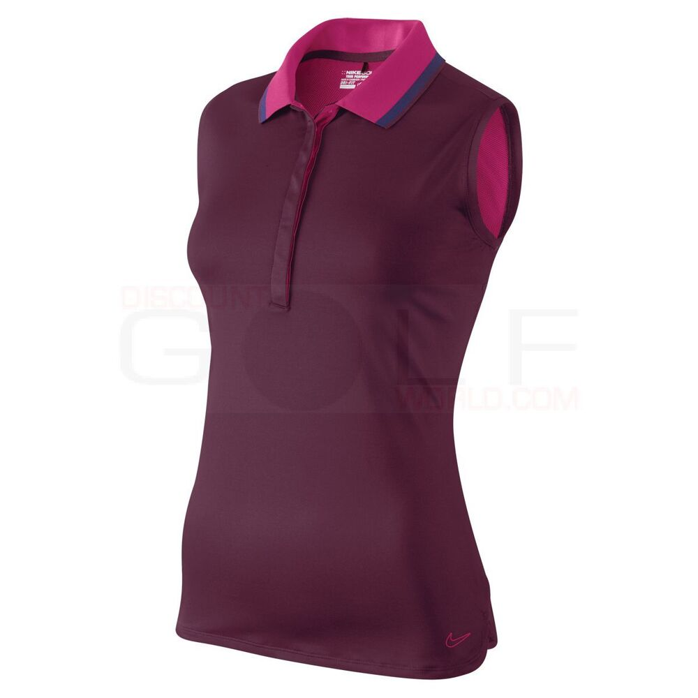 Nike golf sleeveless sportie sporty womens polo shirt dri for Women s dri fit golf shirts
