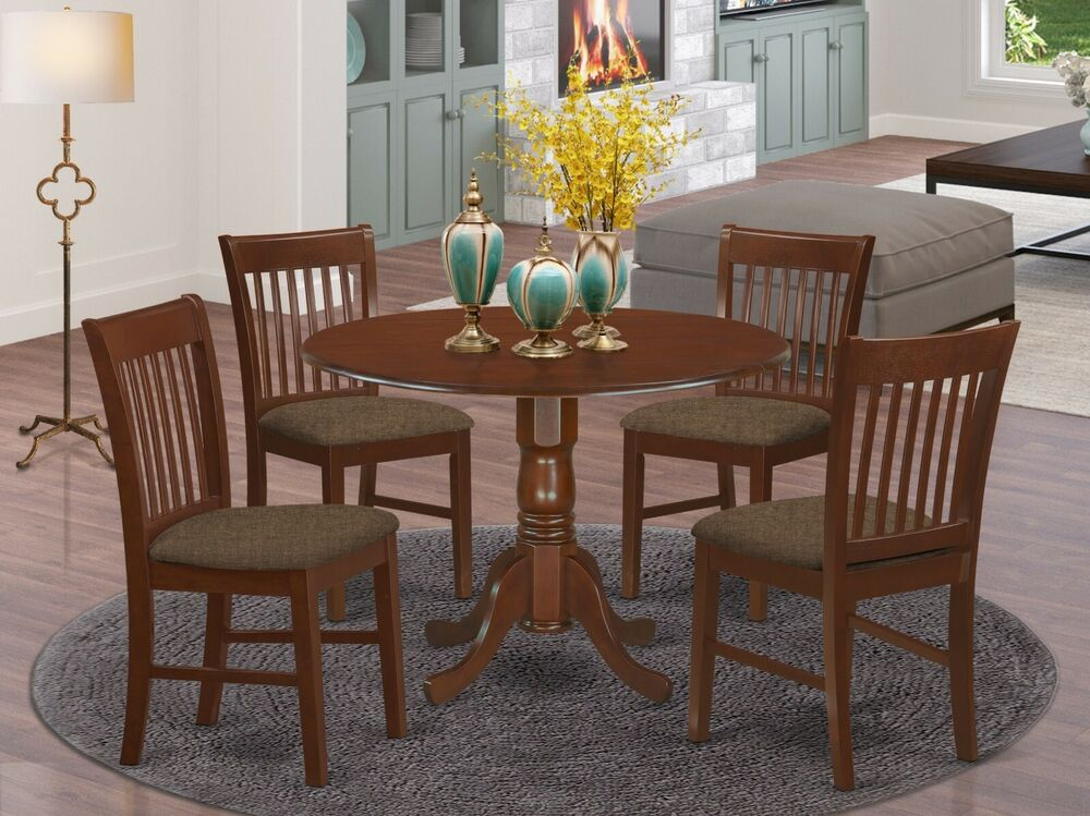 5pc dinette kitchen dining set round pedestal table w 4 padded chairs mahogany ebay - Pedestal kitchen table set ...