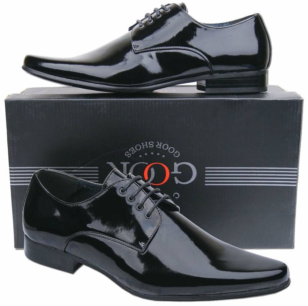 men wedding shoes mens new black lace up leather lined patent dress wedding 5784