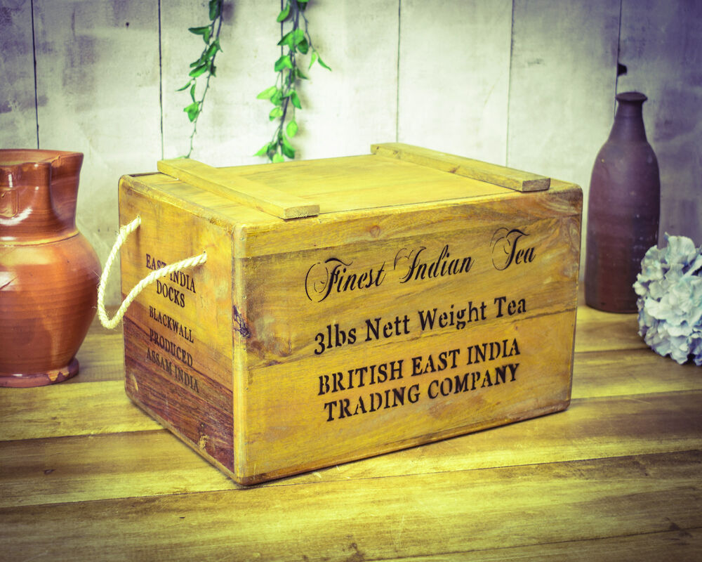Vintage antiqued wooden box, crate, Tea Imports Chest | eBay