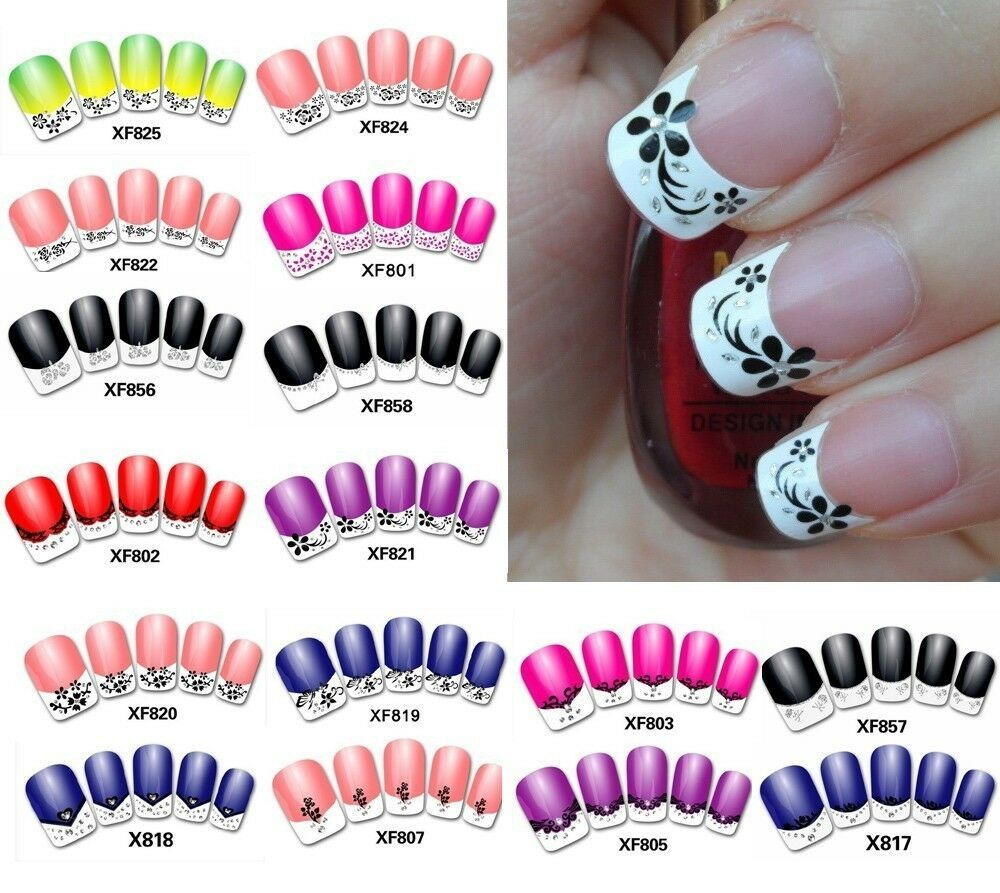 New Fashion French Manicure 3D Nail Art DIY Stickers Tips ...
