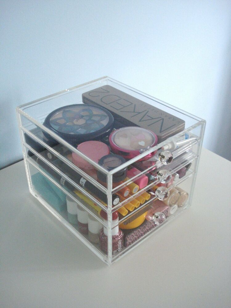 BEAUTY CUBE CLEAR ACRYLIC MAKEUP ORGANIZER COSMETIC STORAGE 4 DRAWER KARDASHIAN | eBay