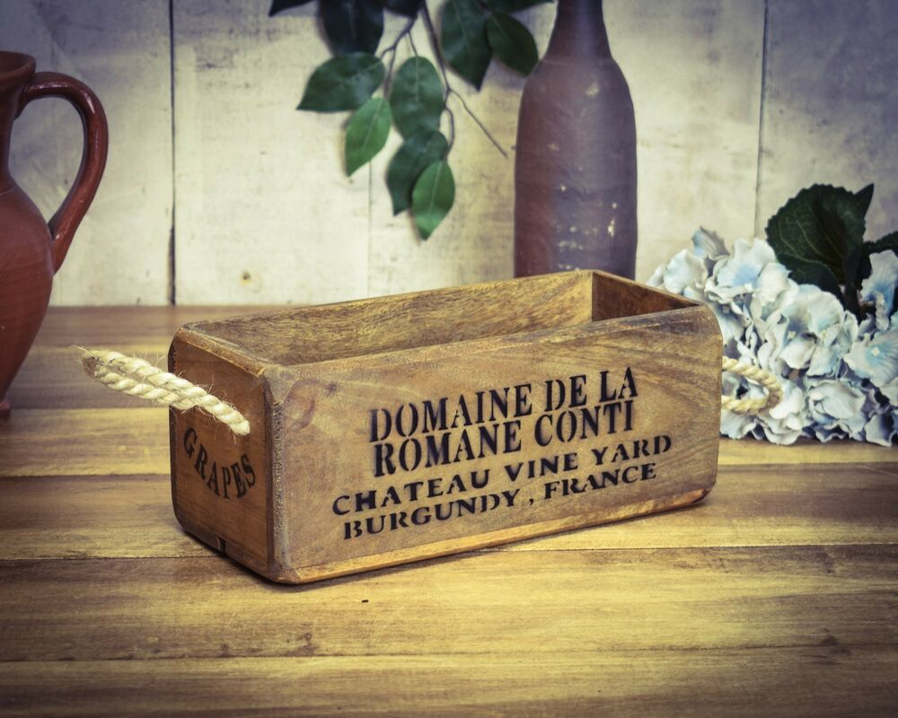 Vintage antiqued wooden box crate trug small box fine for Small wine crates