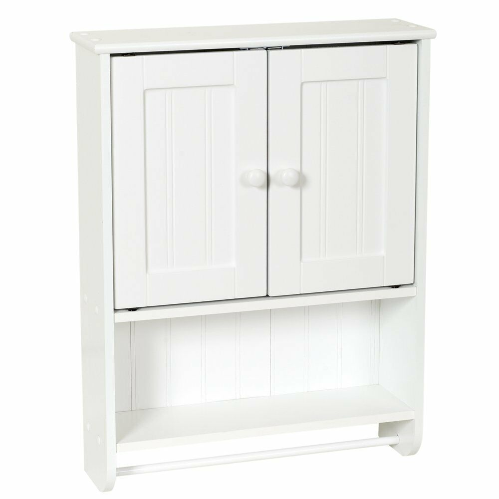 new white wood wall cabinet bath towel bar shaving