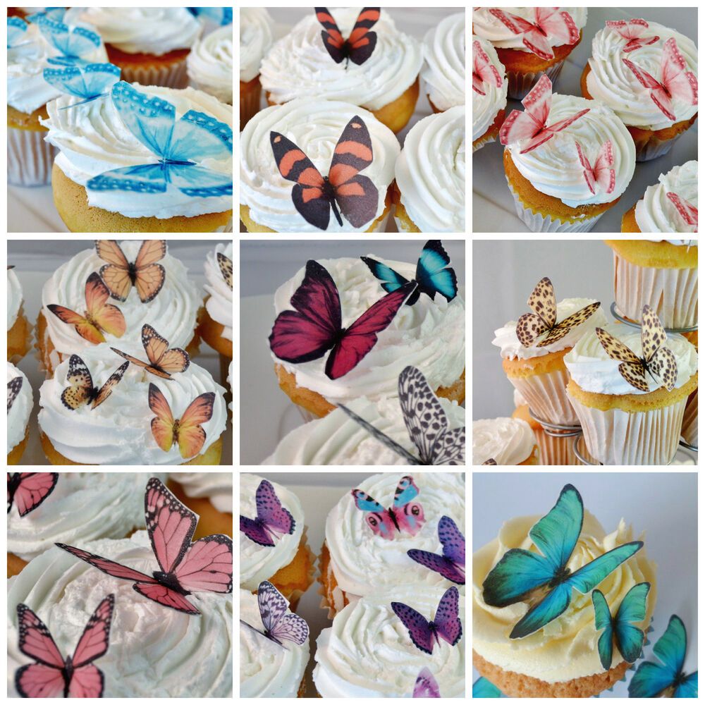 Edible butterfly cake decorations butterflies cupcake for How to make edible cake decorations at home
