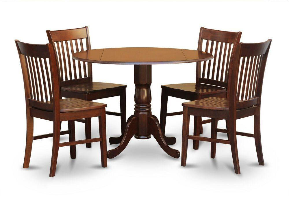 5pc dinette kitchen dining set round table with 4 wood for Kitchen dining table chairs
