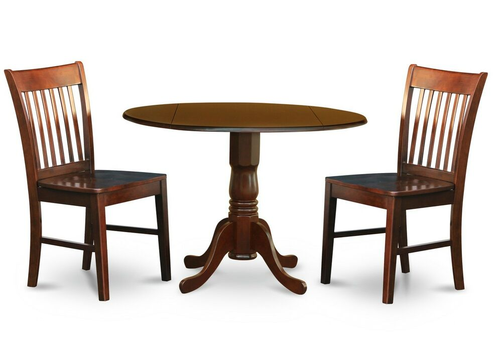 3pc dinette kitchen dining set round table with 2 wood for Two seat kitchen table