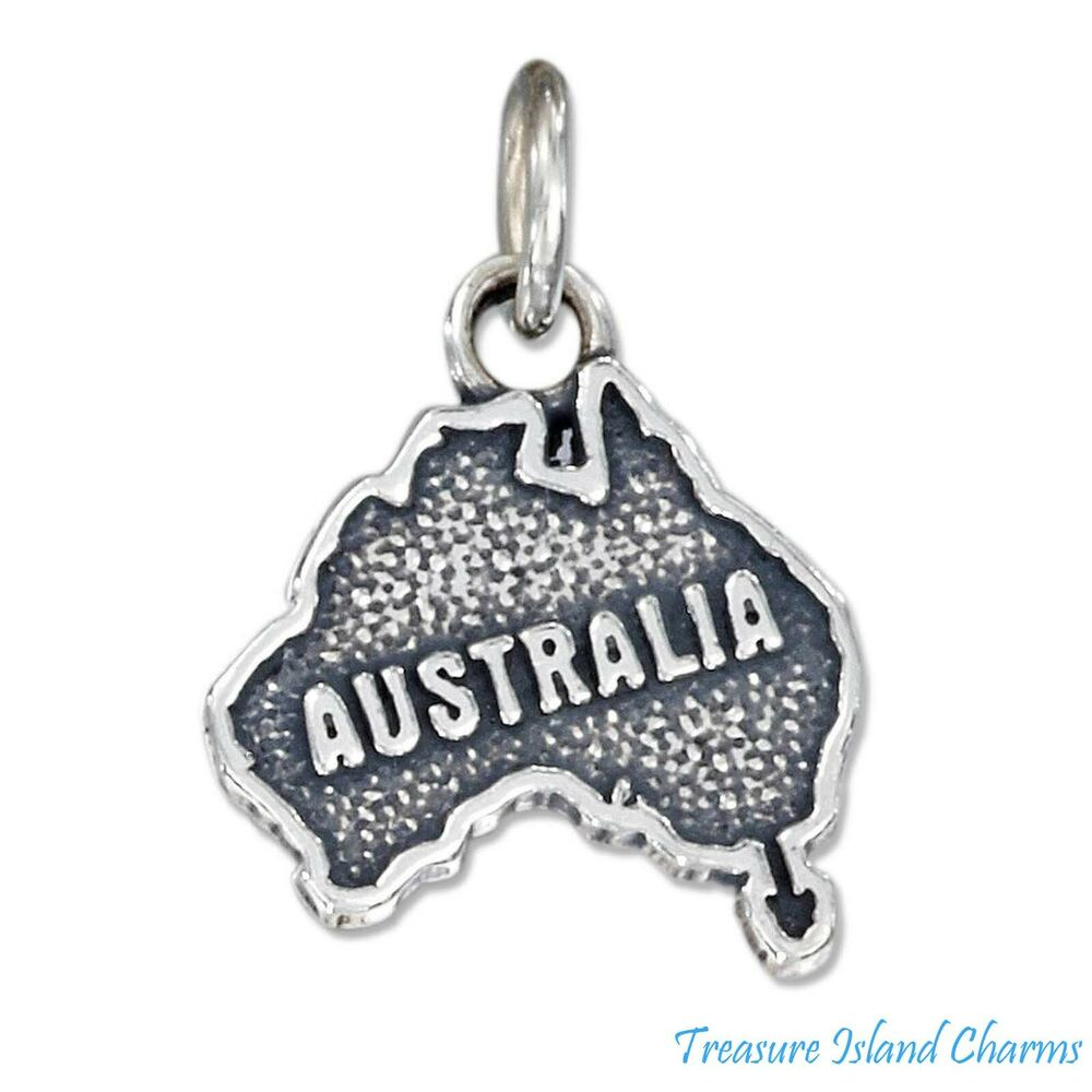 australia country continent map 925 solid sterling silver