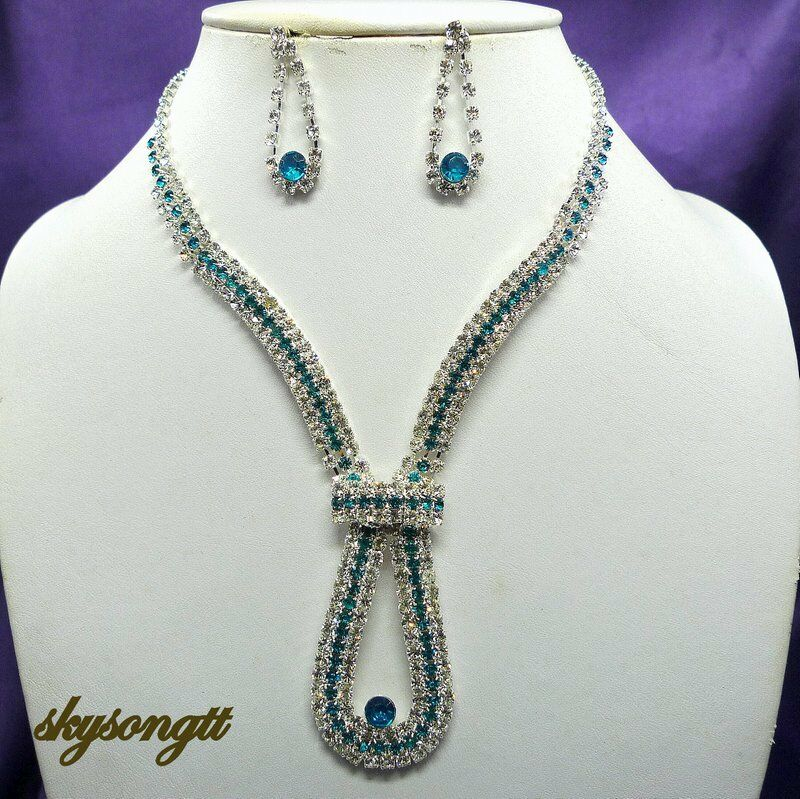 sapphire necklace and earrings set austrian sapphire blue bridal rhinestone necklace 1191