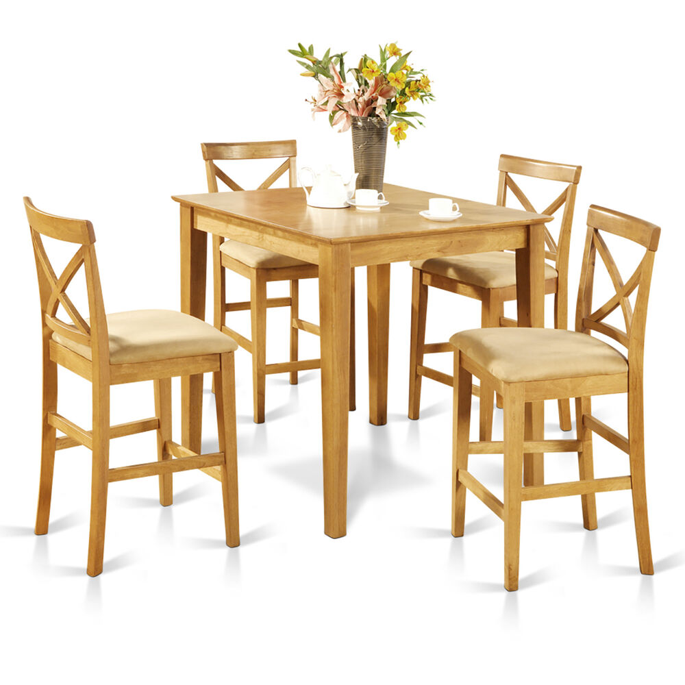 Oak Wood Table And Chairs: 5pc Counter Height Pub Set, Table With 4 Microfiber