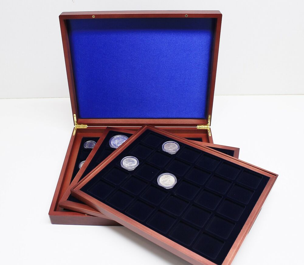 Wood display case w 3 trays for coins capsules up to 30mm for 1 case of table paper