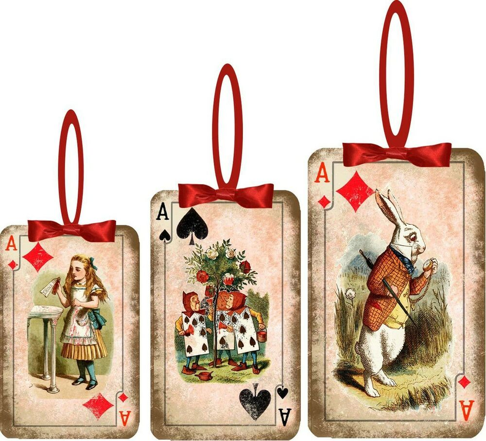 Christmas Alice In Wonderland 8 Playing Card Ornaments