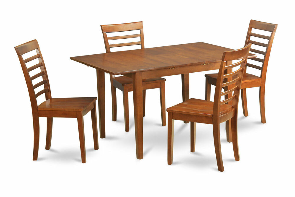 5pc rectangular dinette kitchen dining table w 4 wood seat chairs saddle brown ebay. Black Bedroom Furniture Sets. Home Design Ideas