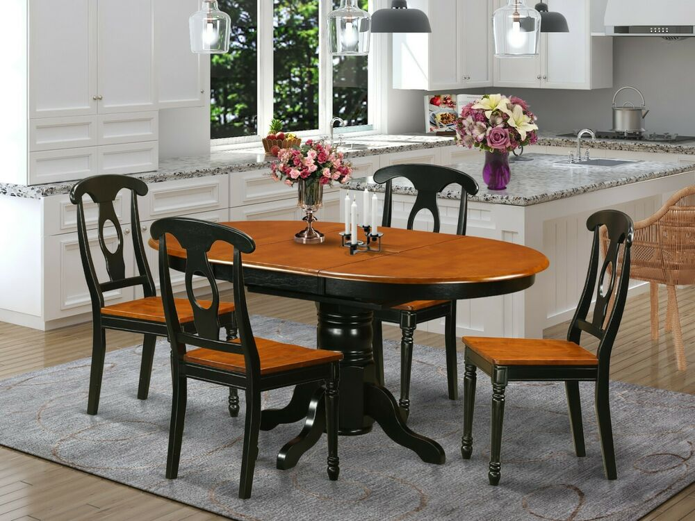 5 pc oval dinette kitchen dining set table w 4 wood seat for Black wood dining table