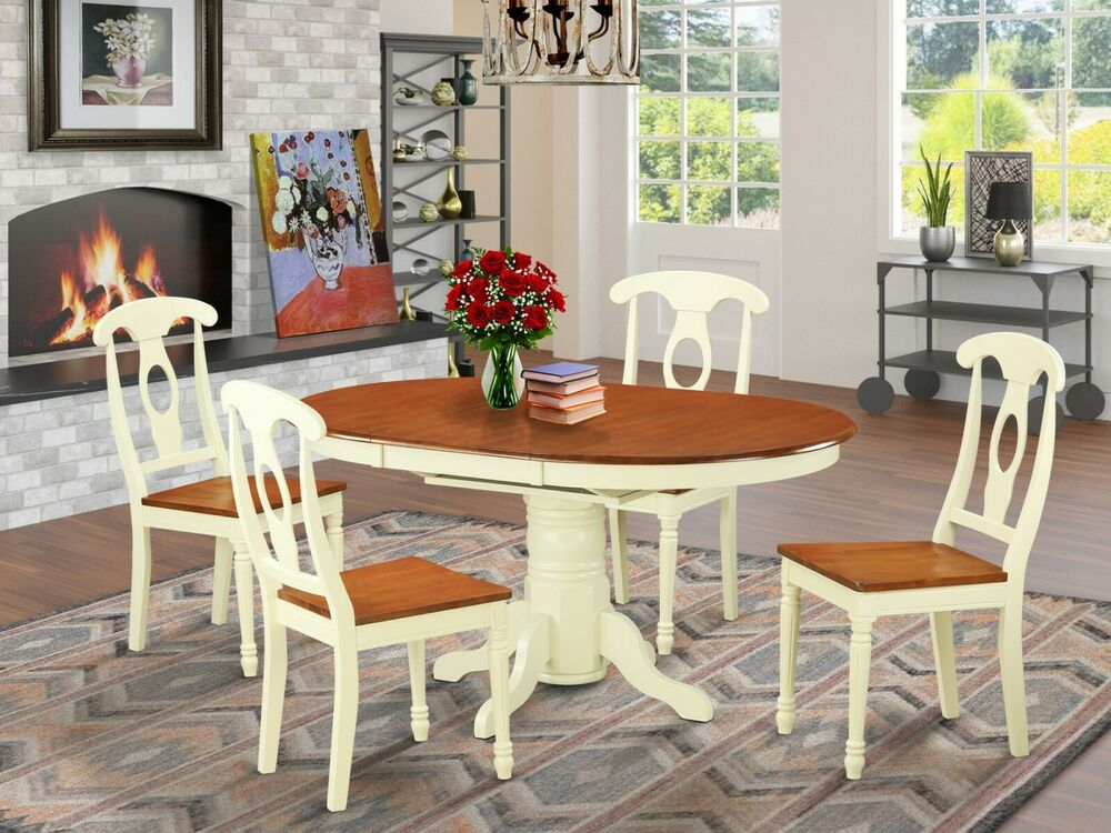5 pc oval dinette kitchen dining table w 4 wood seat for W kitchen table taipei
