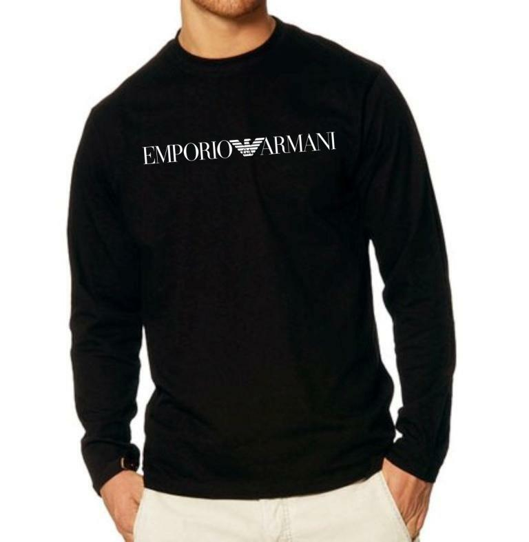 emporio armani men 39 s longsleeve t shirt size m l xl black. Black Bedroom Furniture Sets. Home Design Ideas