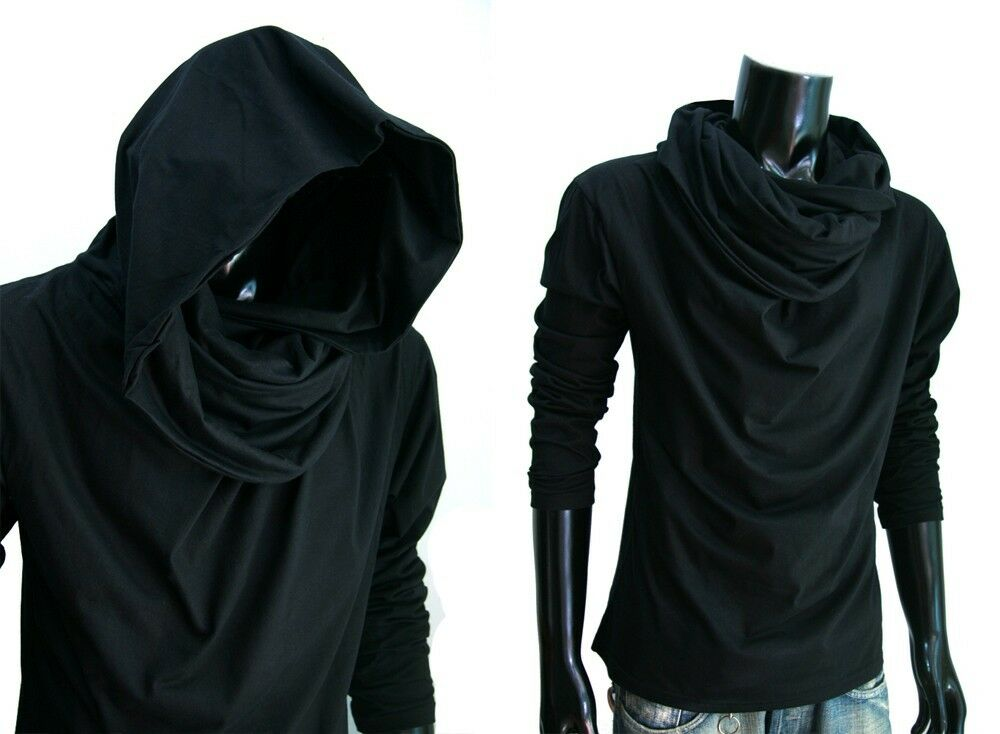 Men jedi black cloak longsleeve turtle cowl neck hood for Boys long sleeve shirt with hood