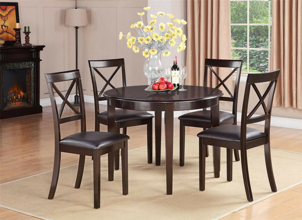 5pc set round dinette kitchen dining table with 4 faux for Round dining table for 4