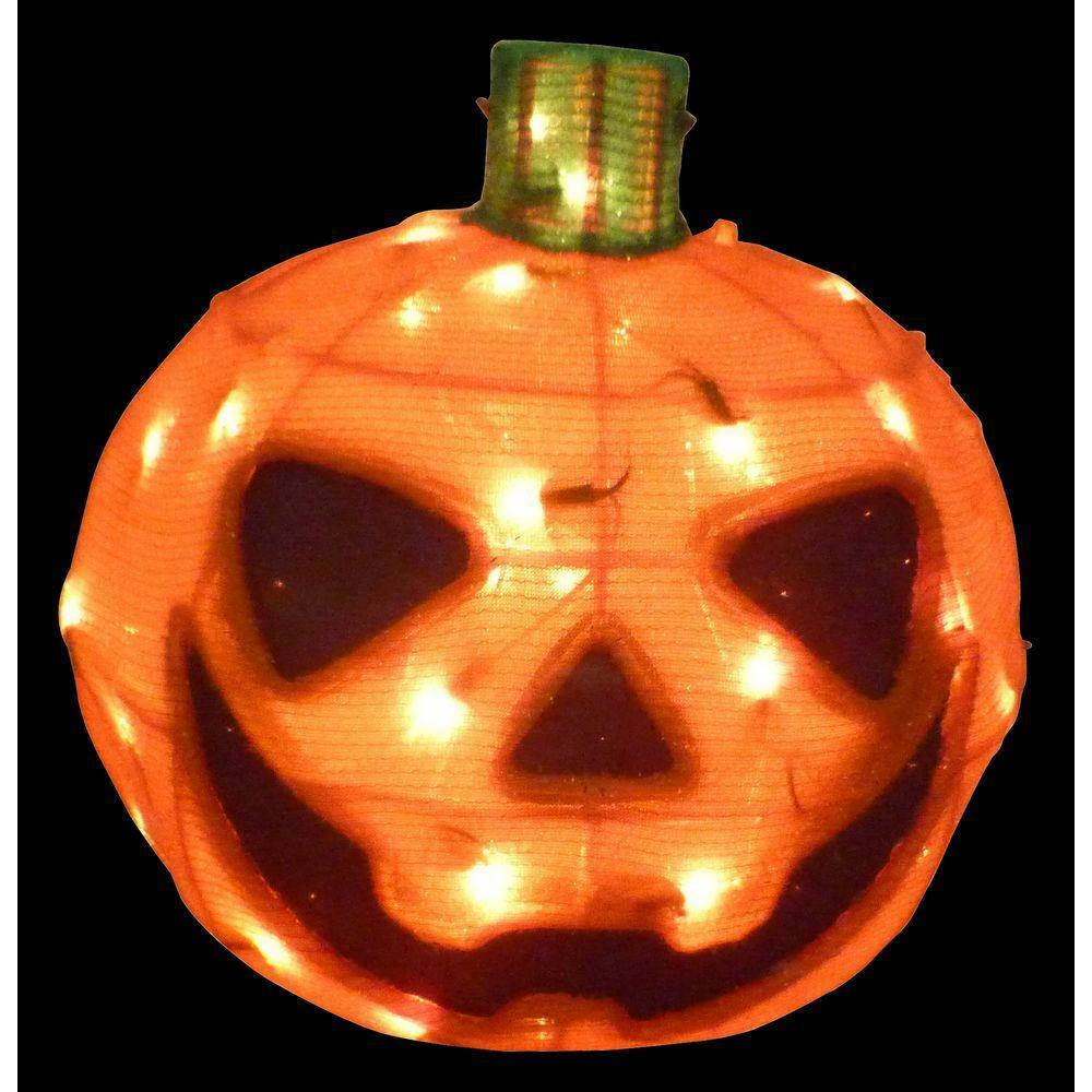 "Halloween Outdoor Yard Decorations: Huge 15"" Lighted Crystal Tinsel Orange Pumpkin Halloween"