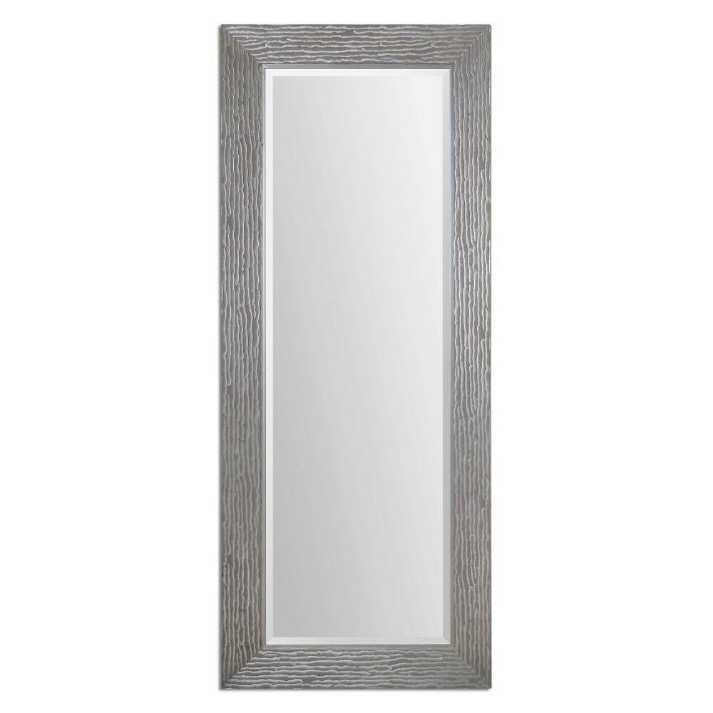 Contemporary 82 textured silver oversize wall mirror full for Floor wall mirror