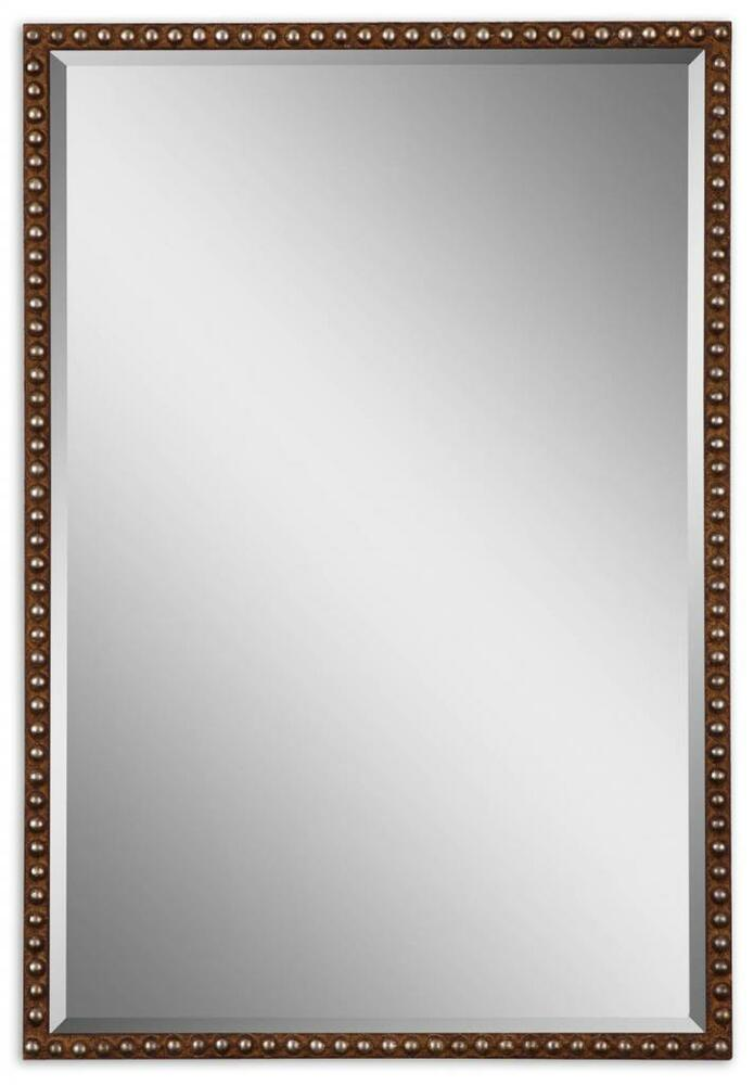 Boutique 32 beaded rectangle wall mirror vanity mantel for Thin wall mirror