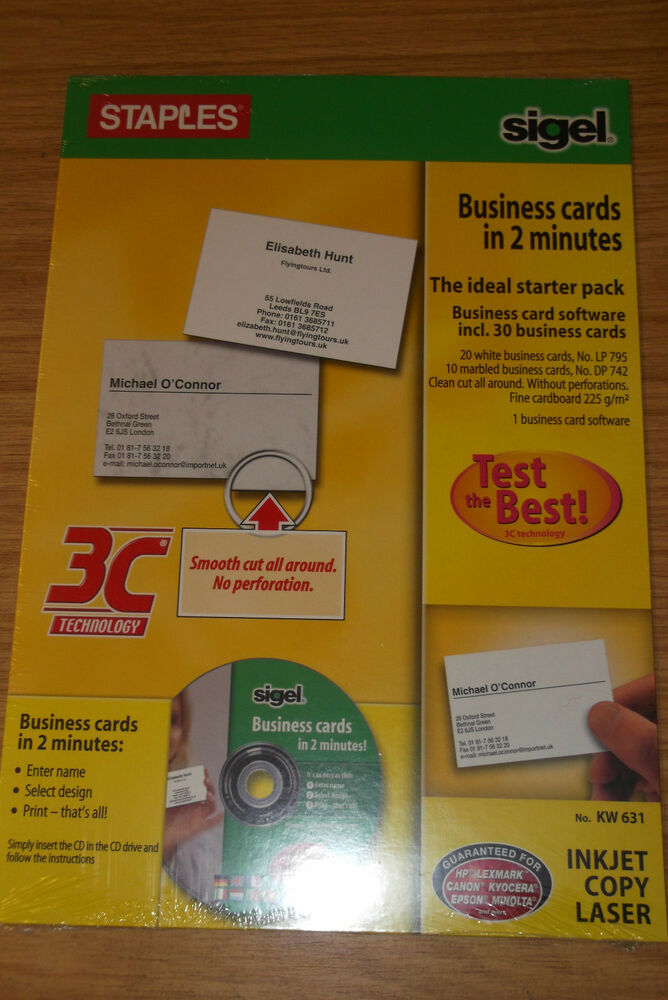 BUSINESS CARD MAKER KIT WITH CD ROM 30 HIGH QUALITY SMOOTH