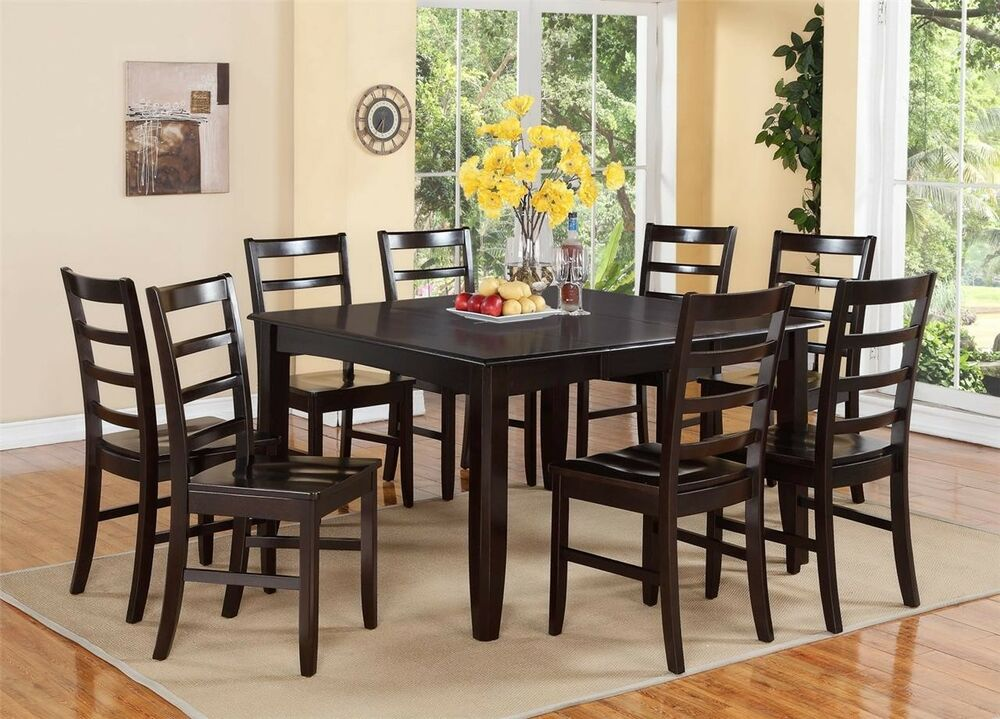 9pc dinette dining room set table 8 plain wood seat for Dining room 8 chairs