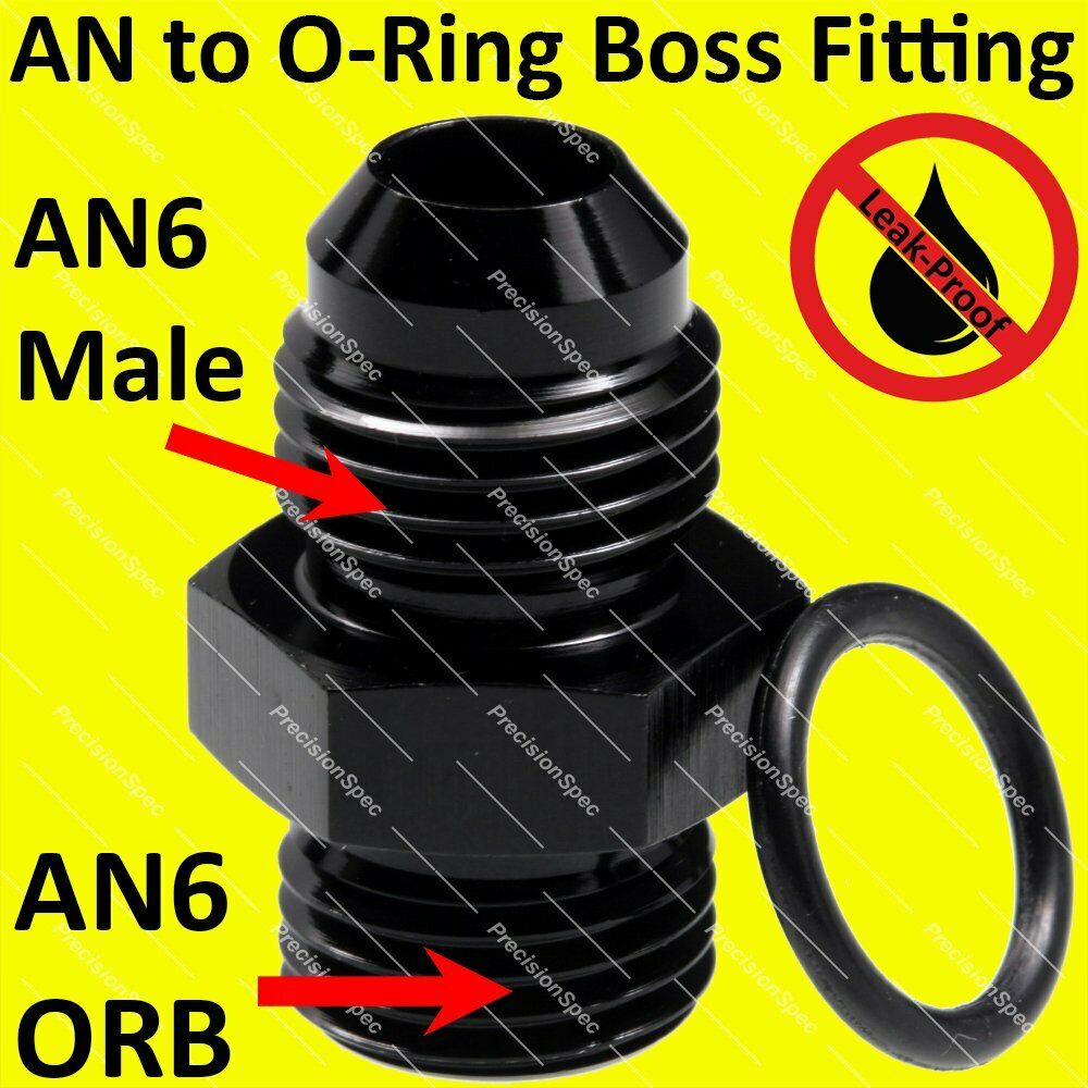 An6 Male Flare To 6an Orb O Ring Boss Straight Fitting