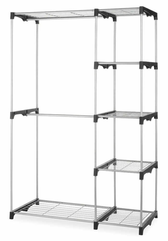 New Double Rod Closet Organizer Hanging Rack Clothes