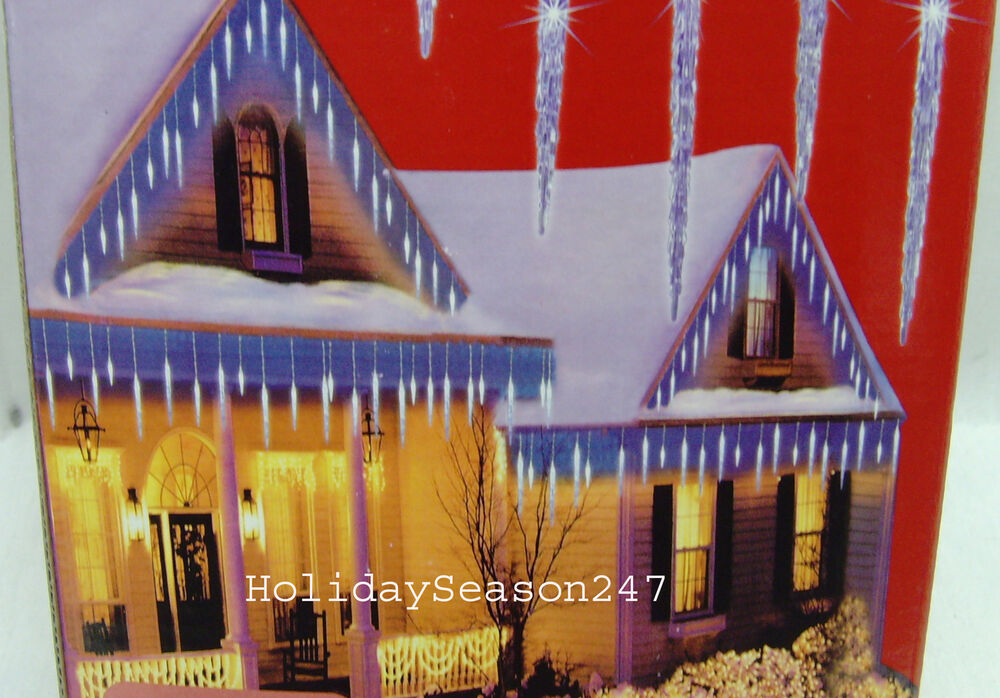 25 LARGE BLUE ICY ICICLE CHRISTMAS LED LIGHTS HOLIDAY OUTDOOR FROZEN MELTING