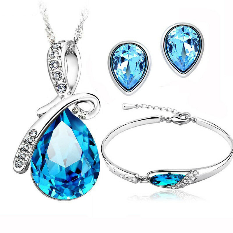 brand style swarovski crystal 925 silver jewelry sets earrings pendants bracelet ebay. Black Bedroom Furniture Sets. Home Design Ideas
