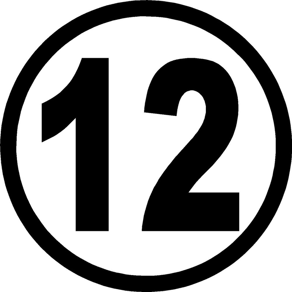 Details about racing number 12 decals for car or truck stickers 7 x 7