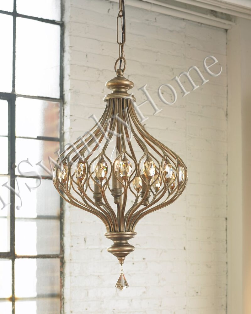 "16"" HORCHOW Jeweled HANGING PENDANT Chandelier Light"