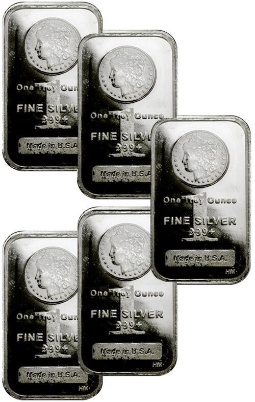 Lot Of 5 1 Troy Oz Silver Bars 999 Fine Morgan Dollar