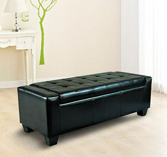 Black Leather Bench With Shoe Storage