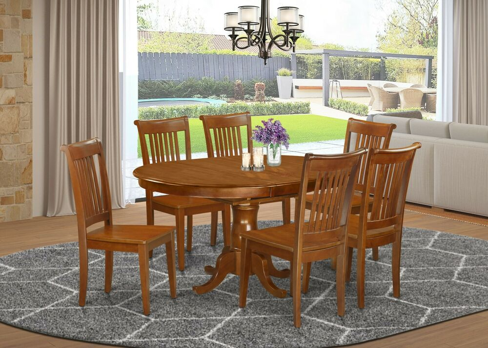 7pc portland oval kitchen dining set table 6 wood seat for Dining table with 6 chairs cheap