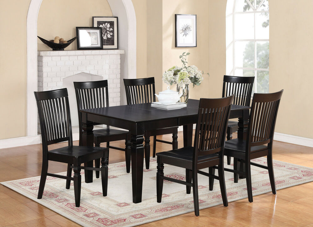 PC SET RECTANGULAR DINETTE DINING ROOM TABLE W 4 WOOD SEAT CHAIRS
