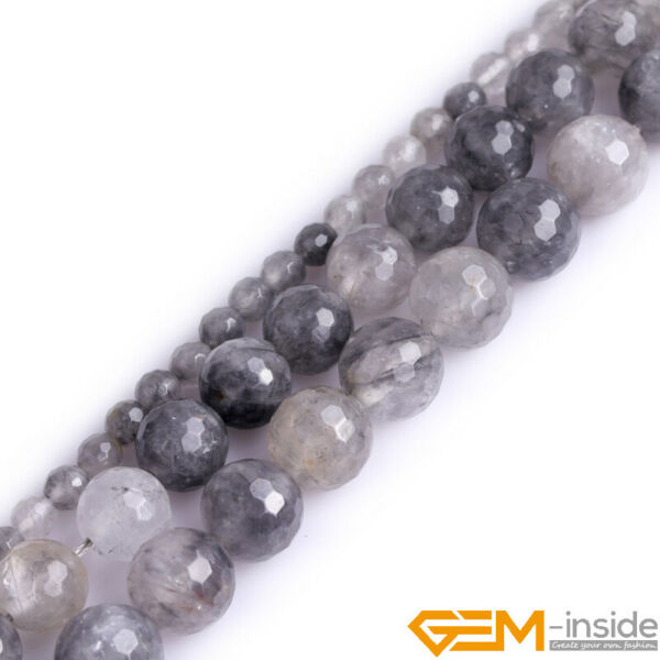 Natural Grey Cloudy Quartz Crystal Faceted Round Beads 15