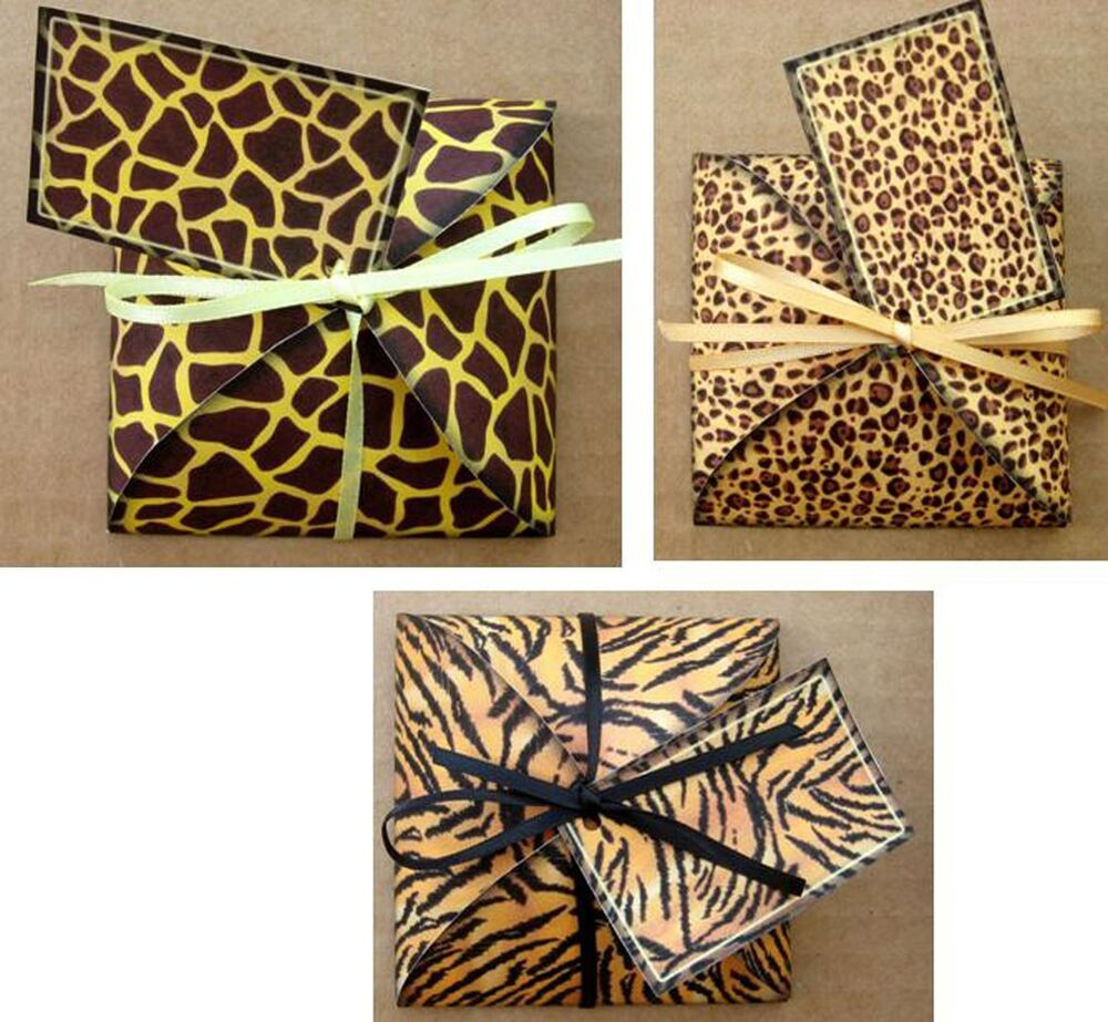 Animal print gift box party favor table decoration for Animal print decoration