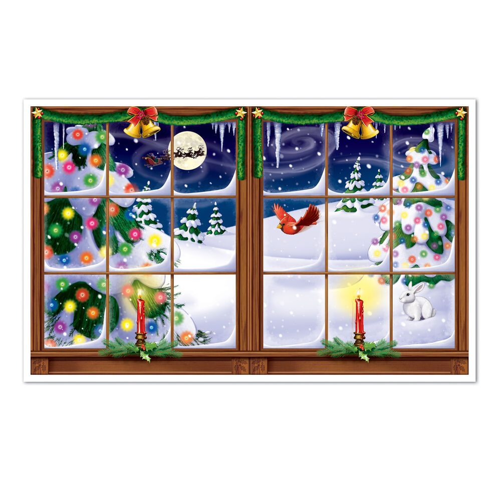 Snowy christmas eve holiday party decoration prop insta for Christmas wall mural plastic