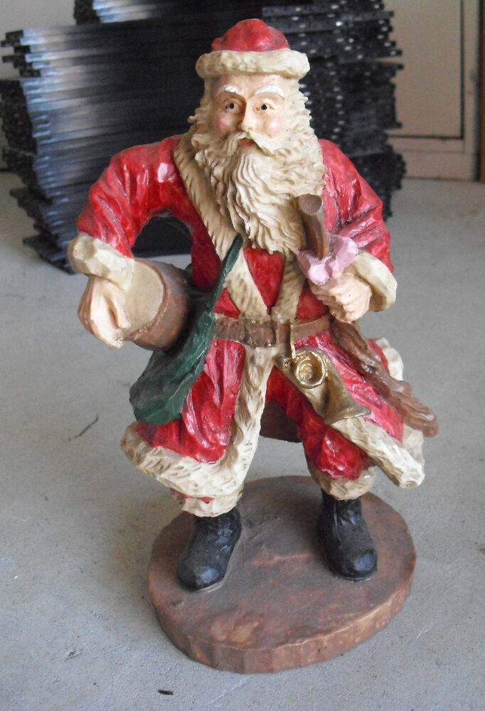 Big heavy resin santa claus figurine quot tall ebay