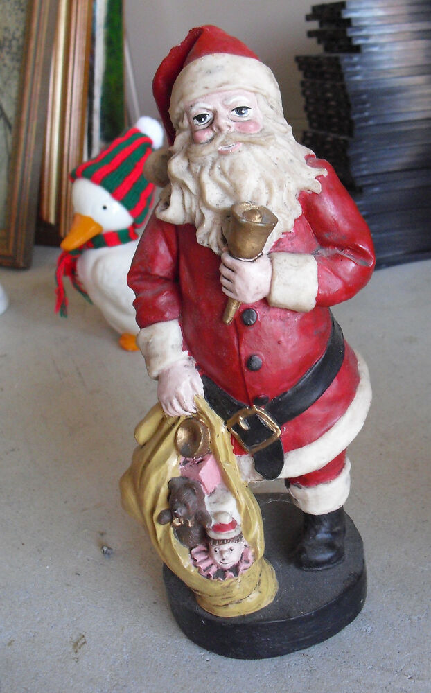 Big heavy resin santa claus with gift bag figurine