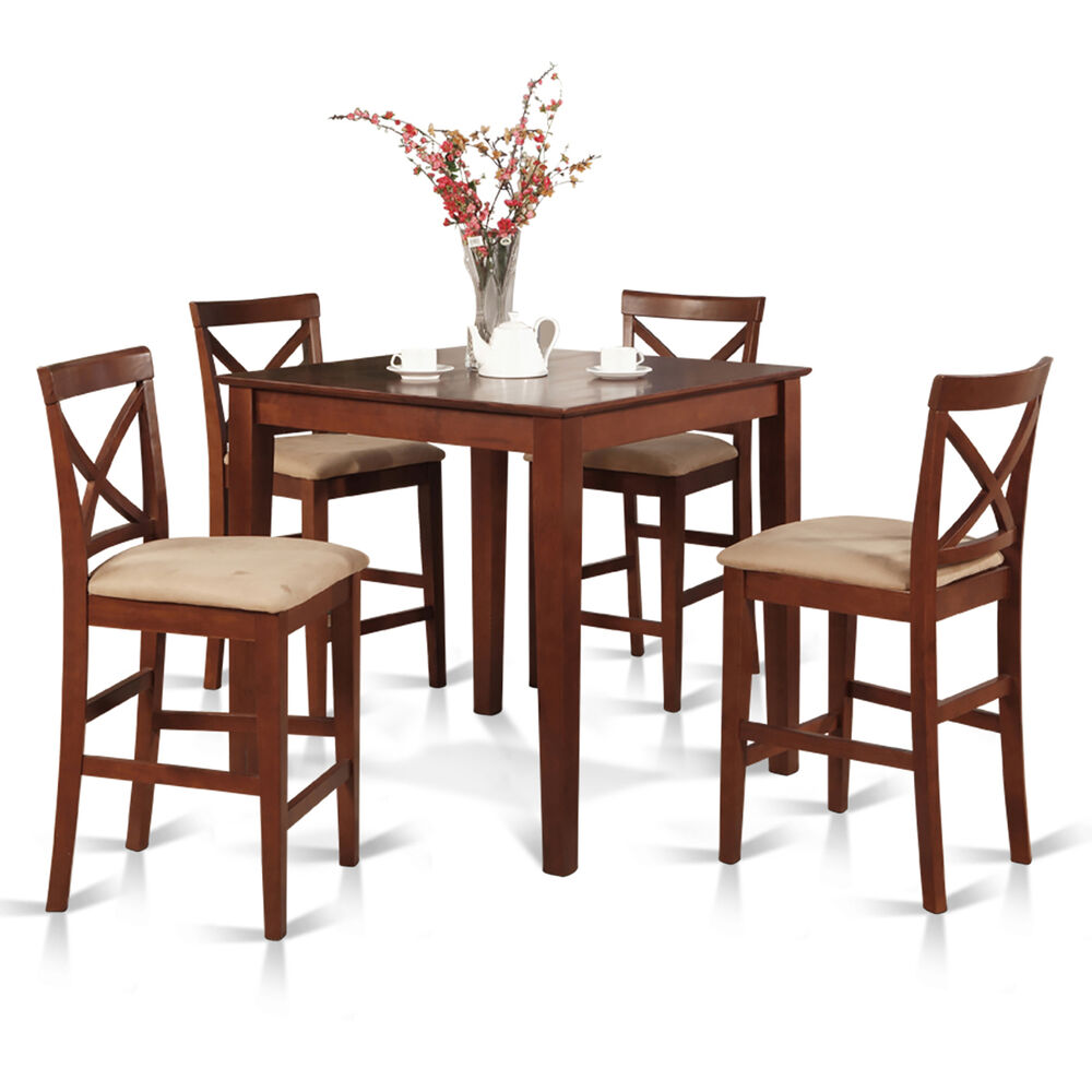 Set Chairs: 5pc Counter Height Pub Set 36x36 Table + 4 Bar Stool